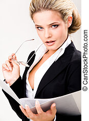 Business lady - Portrait of elegant businesswoman holding...