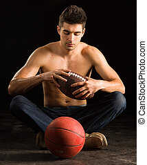 College Student Holding Football