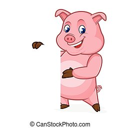Pig cartoon holding blank sign isolated in white background