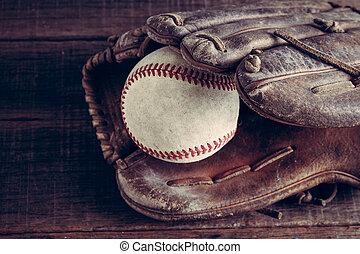 Stil, altes, Weinlese, effekt, Handschuh,  filter, Holz,  baseball,  retro, hintergrund
