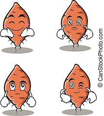 Set yam character collection stock vector illustration