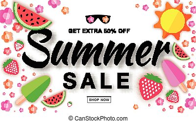 Summer sale template horizontal flat banner, hand drawn typographic lettering on white background with flat paper sun, watermelon, ice cream, strawberry, flower, vector summer design elements.