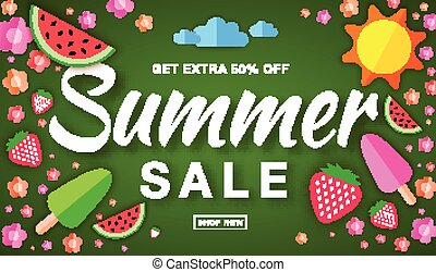 Summer sale template horizontal flat banner, hand drawn typographic lettering on bright green background with flat paper sun, watermelon, ice cream, strawberry, flower, vector summer design elements.