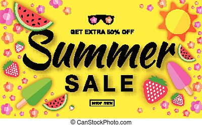 Summer sale template horizontal flat banner, hand drawn typographic lettering on bright yellow background with flat paper sun, watermelon, ice cream, strawberry, flower, vector summer design elements.