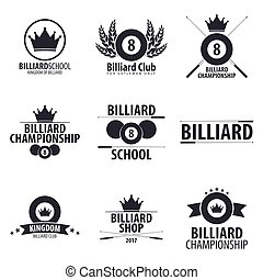Set of Logos for Billiard school, club or shop. Vector illustration.