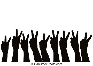 Hands showing victory sign - Hands silhouettes showing...