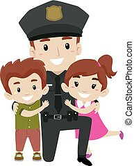 Policeman with Kids
