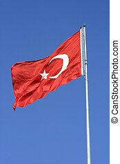turkish flag over sky
