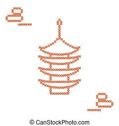 Cute vector illustration cross embroidery of pagoda and...