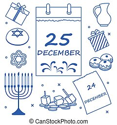 Vector illustration: Jewish holiday Hanukkah: calendar,...