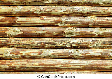 Log Cabin Or Barn Unpainted Debarked Wall Textured Horizontal Background With Copy Space