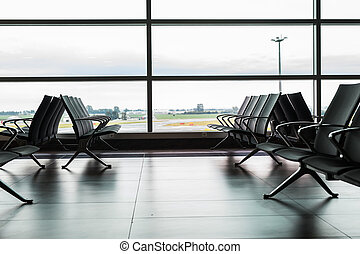 Empty airport terminal waiting area - Empty seat in the...