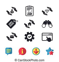 Hands insurance icons. Money savings sign. - Hands insurance...