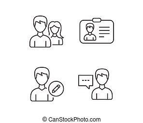 Male and Female, Edit Profile and ID card icons. - Male and...
