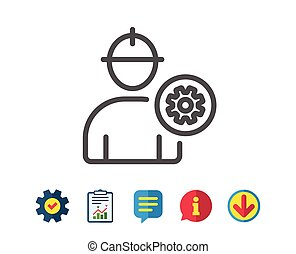 Worker line icon. Male Profile sign. - Worker line icon....