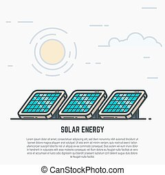 Solar panels concept. Sun and clouds. Modern line style...