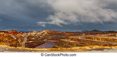 Rio Tinto mine on stormy day, wide angle - wide angle view...