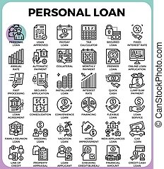 Personal loan icons - Personal loan concept detailed line...