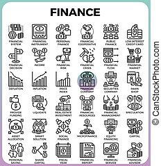 Finance line icons - Finance concept detailed line icons set...