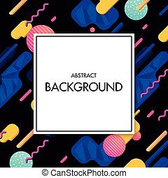 White frame with colorful geometric background. - Applicable...