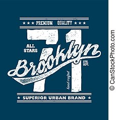 vintage brooklyn typography, t-shirt graphics, vector...