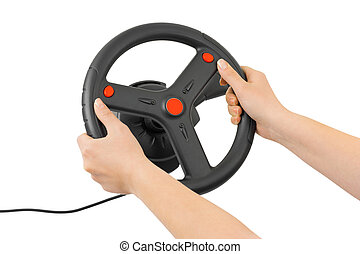Computer steering wheel and hands isolated on white...