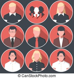 Icons avatars of business men and women
