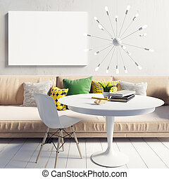 Cozy bright and modern interior living room. Relaxation area. Poster mockup. 3d illustration