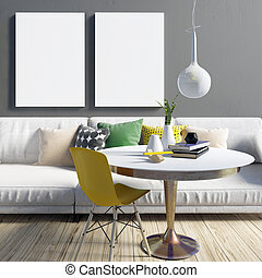 Cozy modern living room interior in contrasting colours.  Relaxation area. Poster mockup. 3d illustration