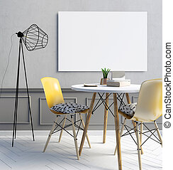 Part of modern minimalist interior consisting of the dining area and a floor lamp. Poster mockup. 3d illustration