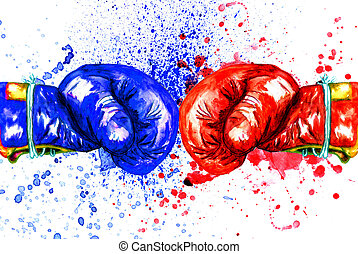 Red Boxing Glove - Grunge watercolor sketch of a red boxing...