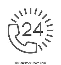 Round the Clock Support Thin Line Vector Icon. Flat icon...