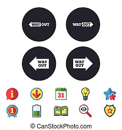 Way out icons. Left and right arrows symbols. Direction...