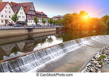 dam on the river Neckar in the Nurtingen in southern Germany