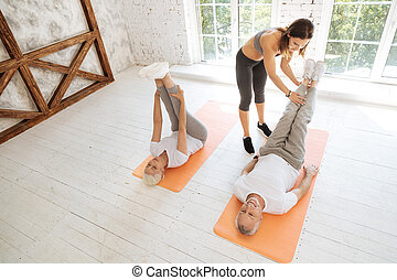 Top view photo of training for mature people - Fitness mood....