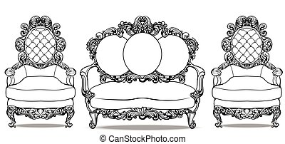 Baroque furniture with luxurious ornaments set. Vector...