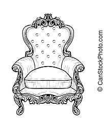 Imperial Baroque armchair with luxurious ornaments. Vector...
