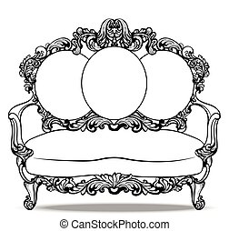 Imperial Baroque couch with luxurious ornaments. Vector...