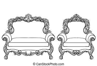 Classic Imperial Baroque armchair set with luxurious...