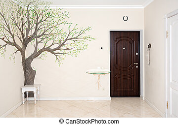 House interior. Entrance hallway with drawing on the wall. -...