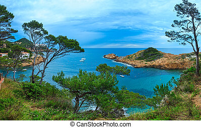 Summer sea bay (Spain). - Sea bay summer evening view with...
