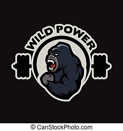 Angry gorilla. Sports gym logo.