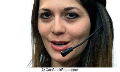 White background beautiful business woman girl talk call center