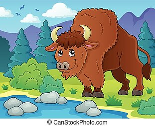 Bison theme vector illustration.