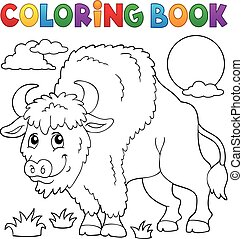Coloring book bison illustration.