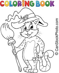 Coloring book Halloween cat theme