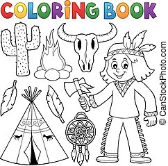 Coloring book Native American theme 2 - eps10 vector...