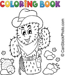 Coloring book stylized cactus - eps10 vector illustration.
