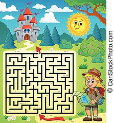 Maze 3 with scout girl - eps10 vector illustration.