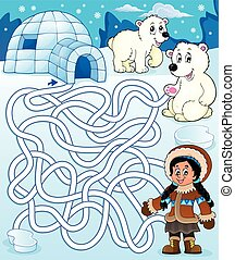 Maze 4 with arctic theme 1 - eps10 vector illustration.